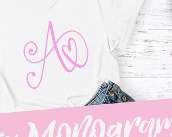 Monogram, Initial, OTF, TTF, Hand Lettered, Font, Cricut, Silhouette, Cutting File, Commercial, OTF, Download, Alphabet, Bundle, Letters