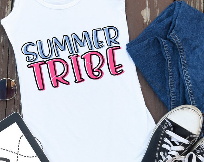 Summer Tribe, Svg, Shirt Design, Dxf, EPS, Cutting File, Cricut File, Silhouette, Word Art, Summer, Beach, Vacation, Commercial Use, Instant