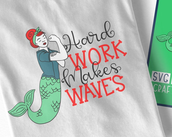 Mermaid, Power, Rosie The Riveter, Svg, Women, Feminism, Girl, Muscle, Hard Work, Mother, Dxf, Png, Shirt Design, Cricut, Silhouette, File