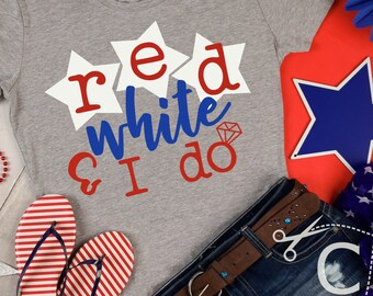 Red, white, I do, Engagement, bachelorette, shirt design, svg, dxf, ai, eps, png, cricut, silhouette, cutting file, wedding, marriage, party