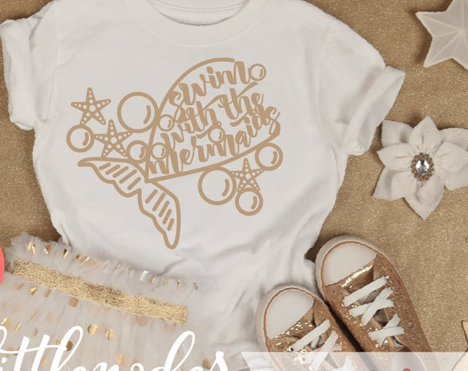 Swim With Mermaids, SVG, Cutting FIle, Shirt Design, Mermaid Tail, Swimming, Beach, Cricut, Silhouette, Commercial, Download, Papercut