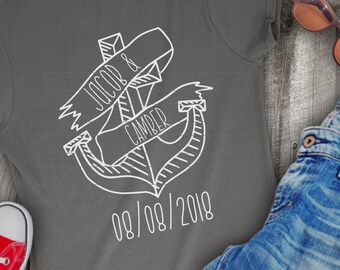 SVG, Anchor, Hand Drawn, Shirt Design, DXF, Ai, Eps, PNG, Wedding, Nautical, Fisherman, Captain, Ship, Anchor Shirt, Anchor Design, Drawing