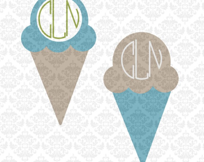 Summer Monogram Ice Cream Palm Trees Whale Castle SVG file Ai EPS Scalable Vector Instant Download Commercial Use FIle Cricut SIlhouette