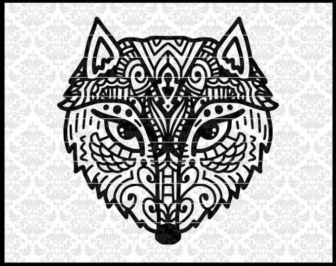 CLN0715 Fox Zentangle Pattern Hand Drawn Intricate Detailed SVG DXF Ai Eps PNG Vector Instant Download Commercial Cut File Cricut Silhouette