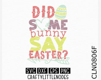 CLN0806F Did Some Bunny Say Easter Egg Hunt Funny Silly Sign Shirt SVG DXF Ai Eps PNG Instant Download Commercial Cut File Cricut Silhouette