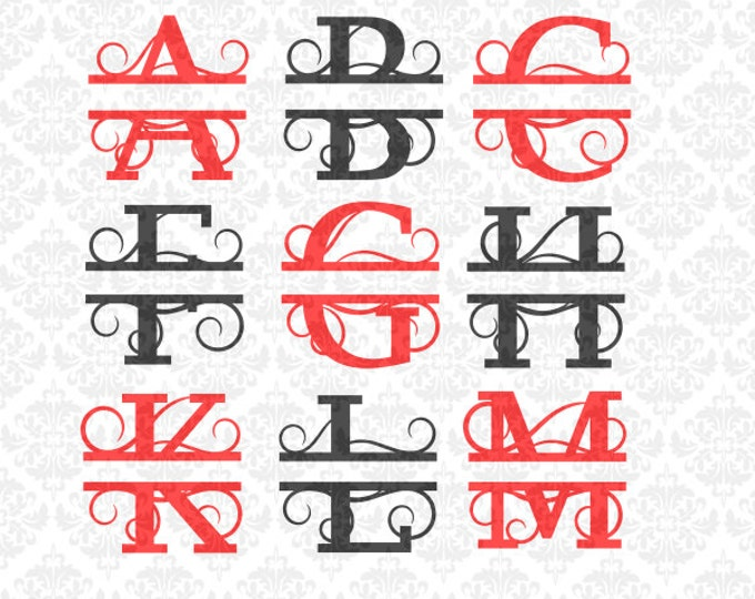 Split Monogram Swirly Letters Fancy Last Name Alphabet SVG Png DXF Ai EPS Scalable Vector Instant Download Commercial Use Cricut Silhouette