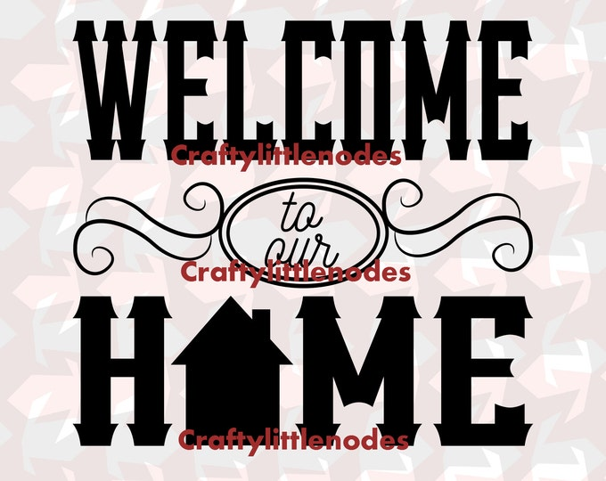 Welcome to our home Chalkboard style Typography SVG STUDIO Ai EPS Scalable Vector Cutting File Instant Download Commercial Cricut Silhouette
