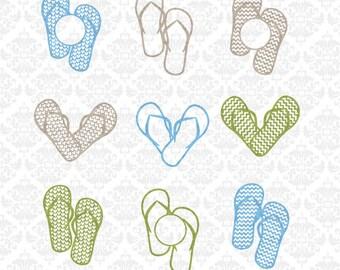 Flip Flop svg, Flip flops svg, Flipflop svg, sandal svg, sandals svg, monogram flip fop, summer svg, monogram svg, Silhouette, Cricut