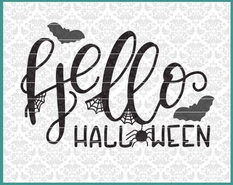 CLN0617 Hello Halloween Hand Lettered Spiders Bats Decor SVG DXF Ai Eps PNG Vector Instant Download Commercial Cut File Cricut Silhouette