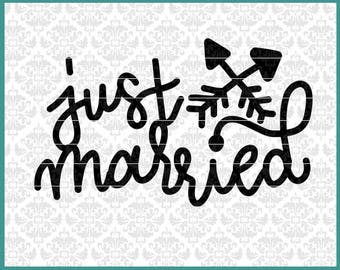 CLN0663 Just Married Wedding Marriage Bride Groom Car Sign SVG DXF Ai Eps PNG Vector Instant Download Commercial Cut File Cricut Silhouette