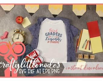 Back to School, Third Grade, 3rd Grade, Svg, DXF, Student, First Day of school, shirt design, PNG, Legends, Boy, Cutting, Cricut, Silhouette