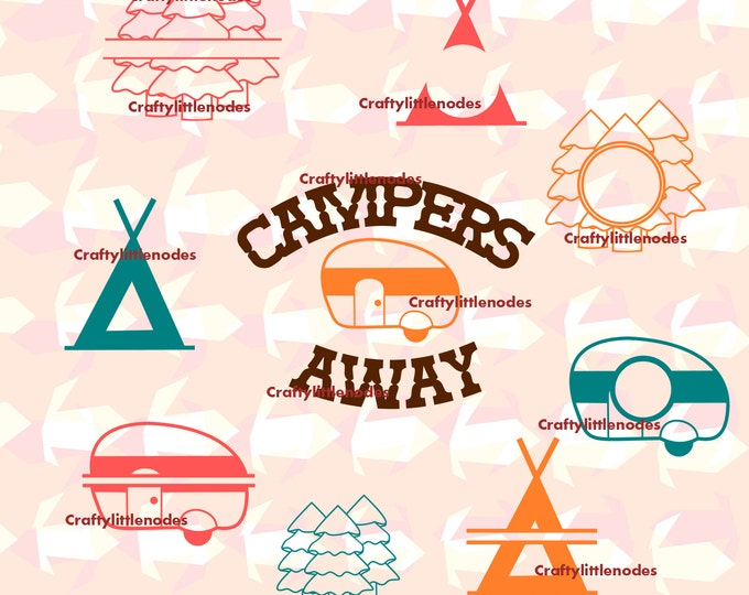 Camping Monograms Campers Away Tent Trees Split SVG file Ai EPS Scalable Vector Instant Download Commercial Use Cutting File Cricut Air