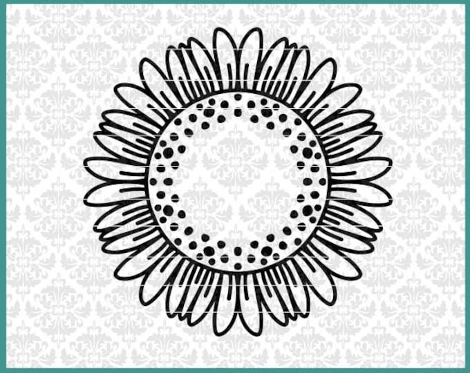 Sunflower Svg, Sunflower Monogram svg, Sunflower Mandala Svg, Sunflowers svg, summer svg, summer time svg, Cricut, Silhouette, Frame, Files