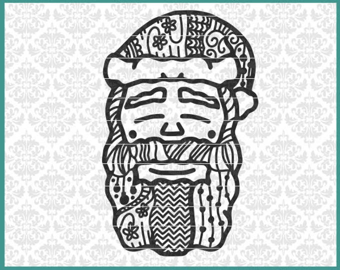 CLN0665 Santa Claus Zentangle Cool Christmas Hand Drawn SVG DXF Ai Eps PNG Vector Instant Download Commercial Use Cut File Cricut Silhouette