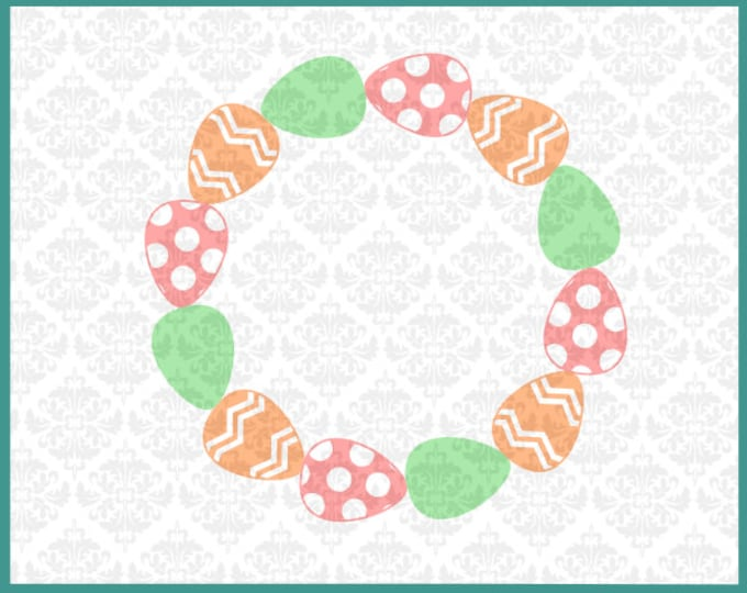 CLN0191 Easter Egg Wreath Bunny Spring Monogram Frame SVG DXF Ai Eps PNG Vector Instant Download Commercial Cut File Cricut Silhouette