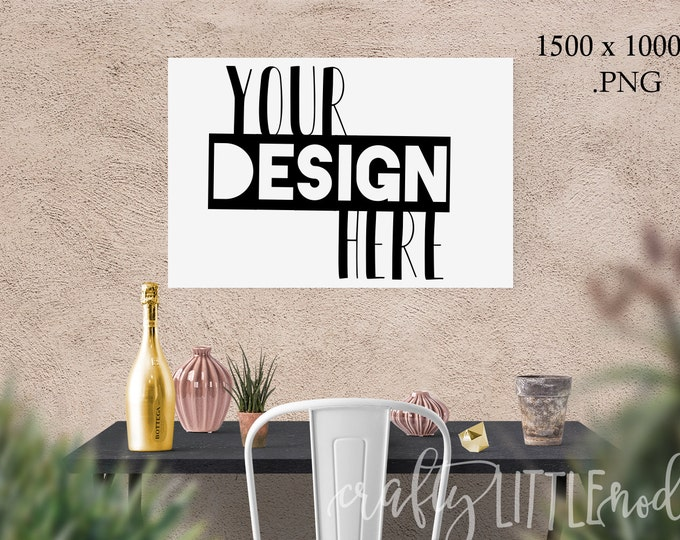 Mockup Mock Up 30 x 20 femine Stylized Photography SVG Blank Printable PNG Garden Boho Desk Wall Chair Wine Blanks Commercial Use Photo