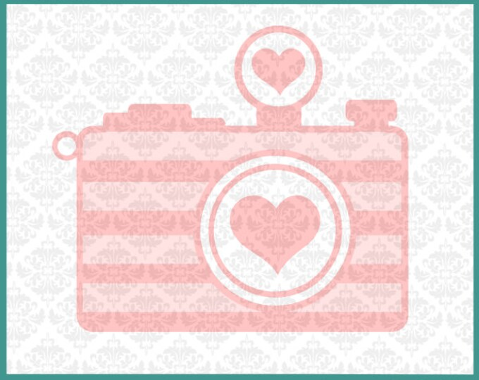 CLN096 Camera Heart Monogram Photography Photographer SVG DXF Ai Eps PNG Vector Instant Download Commercial Cut File Cricut Silhouette
