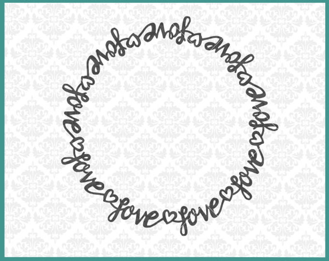 CLN0285 Love Heart Valentines Couple round Monogram Frame SVG DXF Ai Eps PNG Vector INstant Download Commercial Cut File Cricut Silhouette