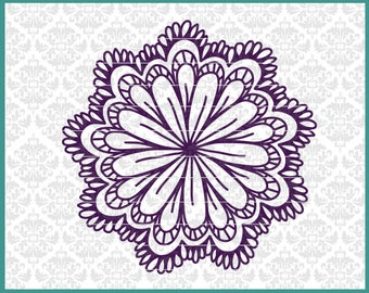 CLN0527 Flower Circle Hand Drawn Mandala Floral Daisy SVG DXF Ai Eps PNG Vector Instant Download Commercial Cut File Cricut SIlhouette