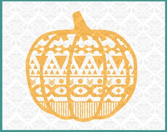 CLN099 Patterned Pumpkin October Halloween Fall Autumn SVG DXF Ai Eps PNG Vector Instant Download Commercial Cut Files Cricut Silhouette