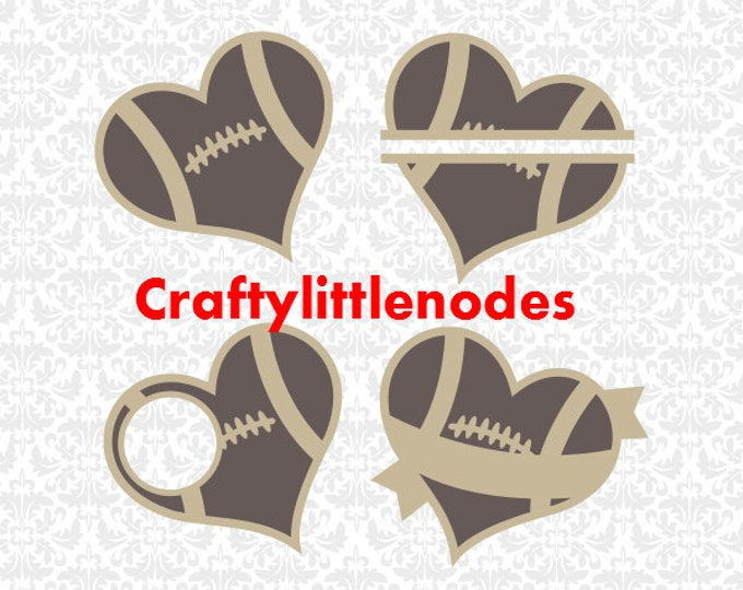 Football Monogram Heart Banner Split SVG file Ai EPS Scalable Vector Instant Download Commercial Use Cutting File Cricut  Silhouette