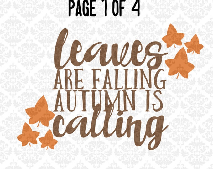 Autumn Fall Harvest Leaves Breezy Decor SVG DXF PNG Ai Eps Scalable Vector Instant Download Commercial Use Cutting Files Cricut Silhouette