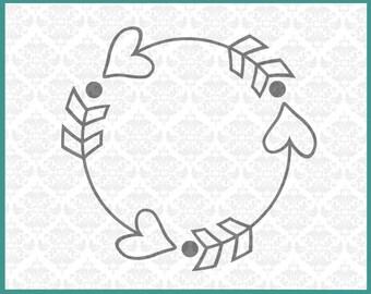 CLN049 Heart Circle Monogram Arrow Boho Initials Arrows SVG DXF Ai Eps PNG Vector Instant Download Commercial Cut File Cricut Silhouette