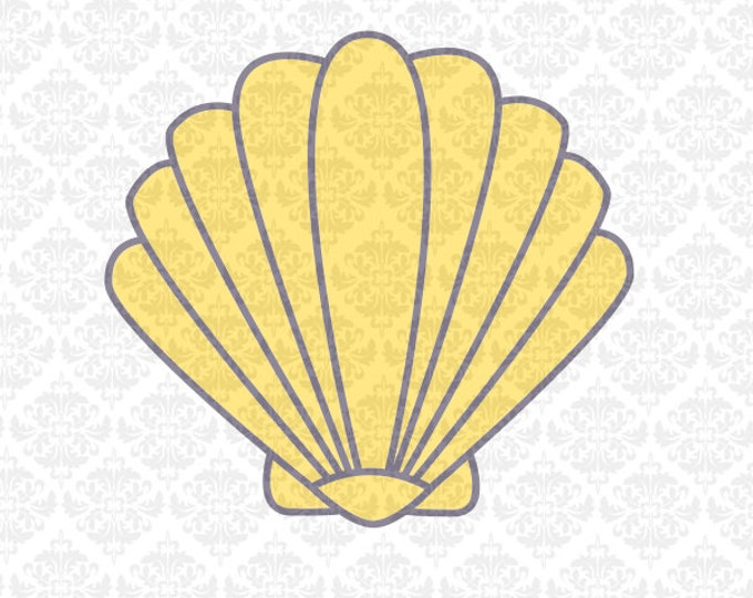Shell Mermaid Seaweed Monogram Starfish Ocean Beach Summer SVG STUDIO Ai EPS Vector Instant Download Commercial Cutting Cricut Silhouette