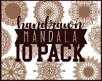 CLN0277 Bundle Mandala Hand Drawn 10 Pack Mandalas INtricate SVG DXF Ai Eps PNG Vector Instant Download Commercial Cut Silhouette Cricut