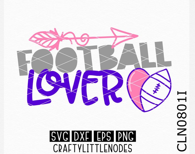 CLN0801I Football Lover Player Sports Team Heart Ball SVG DXF Ai EPs PNG Vector Instant Download Commercial Cut File Cricut Silhouette