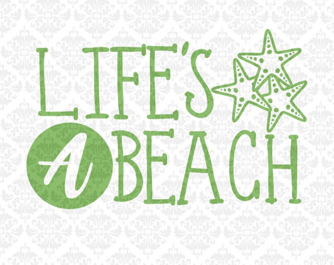 Life's a beach life babe hair sun sand book hand SVG DXF STUDiO PNG Ai Eps Vector Instant Download Commercial Cutting File Cricut Silhouette