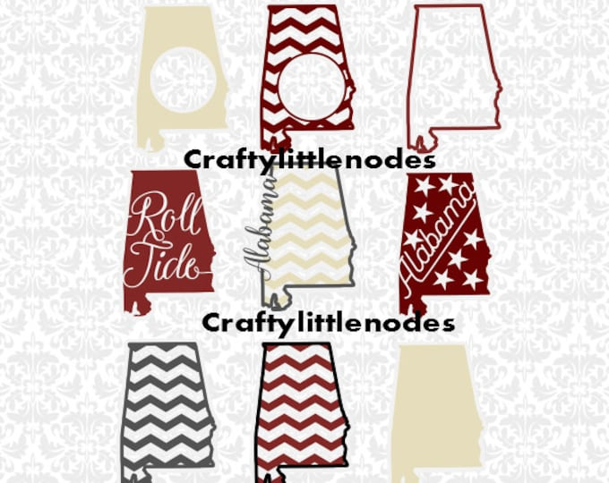Alabama Chevron Monogram Roll Tide SVG STUDIO Ai EPS Scalable Vector  Instant Download Commercial Use Cutting File SIlhouette Cricut