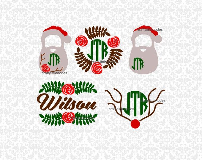 Christmas Flower Monograms Poinsettia SVG file Ai EPS Scalable Vector Instant Download Commercial Use Cutting File Cricut Silhouette