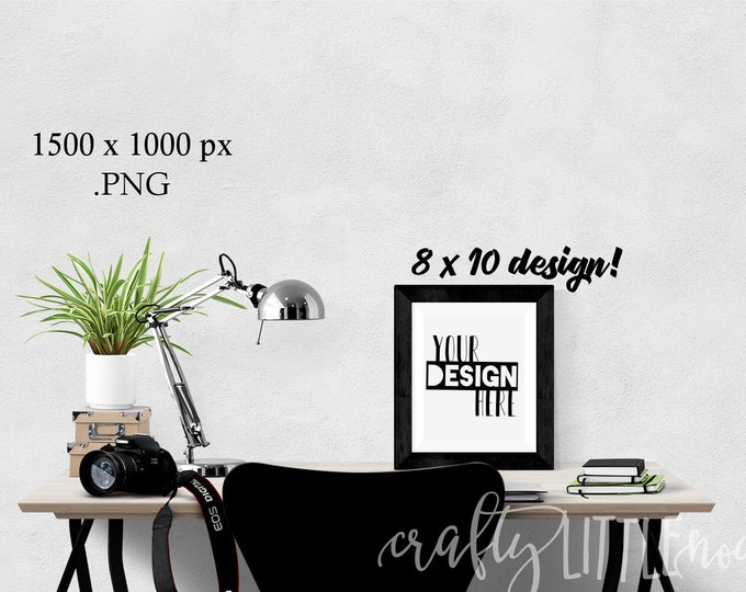 Mockup 8 By 10 Blank Print Frame Black Stylized Desk Mock up Photography Photo Camera Computer Chair Plants Notebook Student Picture PNG