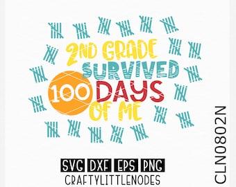 2nd grade svg, second grade svg, survived 100 days of me, svg, 100th day shirt svg, 100 days shirt svg, 100 days of school shirt svg, cricut