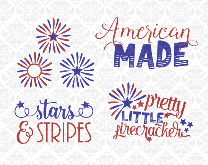 American Made Firework Monogram Firecracker SVG file Dxf Png Ai EPS scalable Vector Instant Download Commercial Use Cricut Silhouette