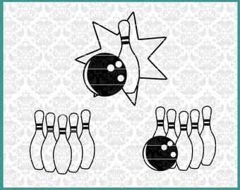 CLN0520 Bowling Bowler Bowl League Spare Strike Turkey Pins Ball SVG DXF Ai Eps PNG Instant Download Commercial Cut File Cricut Silhouette