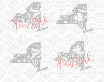 New York State Shape Monogram Zentangle Filigree Pattern Fill SVG STUDIO Ai EPS Vector Instant Download Commercial Use Cricut SIlhouette