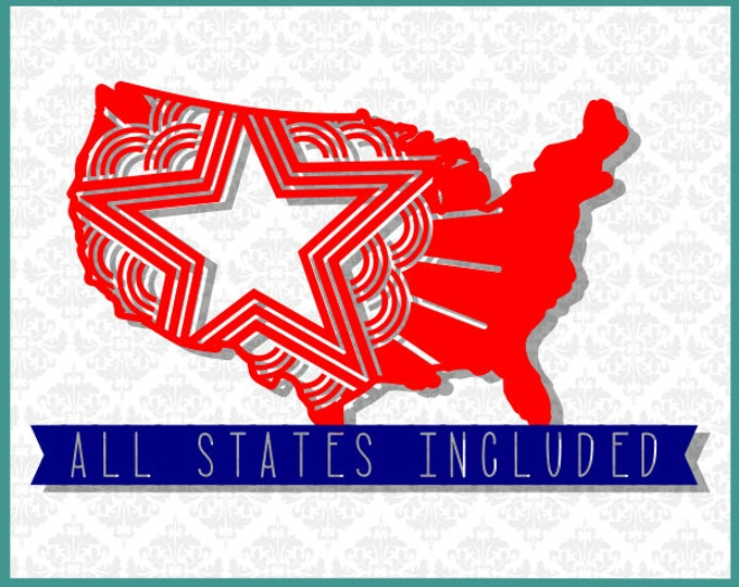 CLN0273 Patriotic State Set Entire All Every United States SVG DXF Ai Eps PNG Vector Instant Download Commercial Cut File Cricut Silhouette