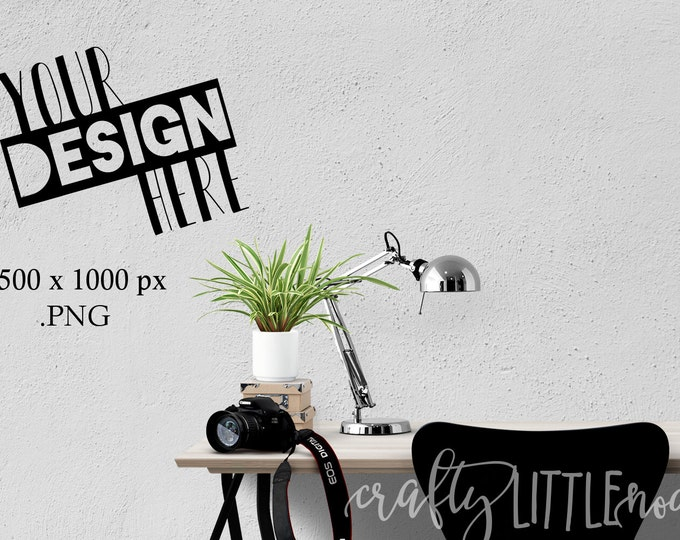 Mockup Wall Blank Print Frame Black Stylized Desk Mock up Photography Photo Camera Computer Chair Plants Notebook Student Picture PNG