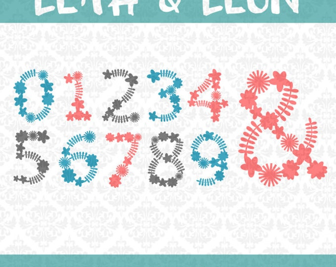 Font! Leah And Leon Flower Alphabet and Numbers Floral Spring Summer Monogram OTF SVG DXF Ai Eps Scalable Vector Instant Download Commercial