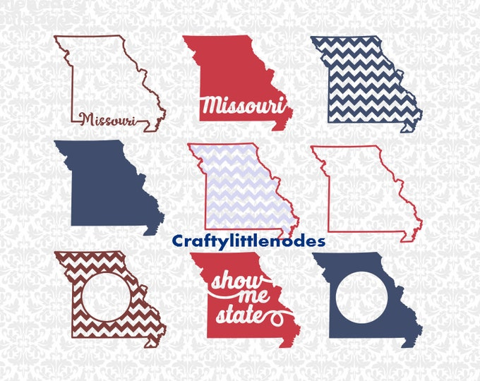Missouri Show Me State Monogram Chevron SVG STUDIO Ai EPS SCalable Vector INstant Download Commercial Use Cutting File Cricut SIlhouette