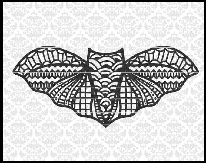 CLN0710 Bat Halloween Zentangle Patterned Mandala Funny SVG DXF Ai Eps PNG Vector Instant Download Commercial Cut File Cricut Silhouette