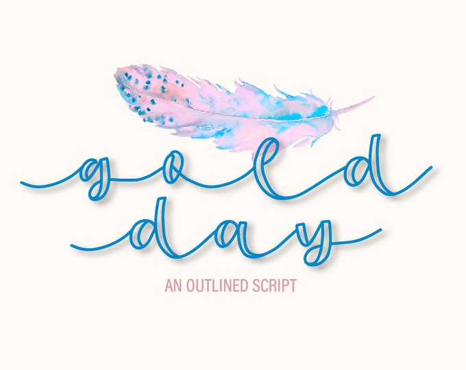 Gold Day - An Outlined Script Font - Made For Crafters Cricut & Silhouette - Commercial Use Instant Download - Hand Lettered Cursive