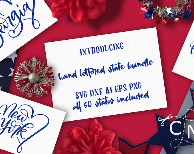 BUNDLE, States, State Set, SVG, PNG, Hand Lettered, State Art, United States, 4th of July, Cutting Files, Shirt Design, Cricut, Silhouette