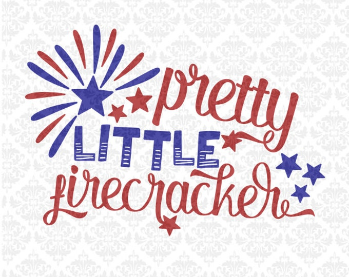 Pretty Little Firecracker Girl Toddler Child SVG file Dxf Png Ai EPS scalable Vector Instant Download Commercial Use Cricut Silhouette