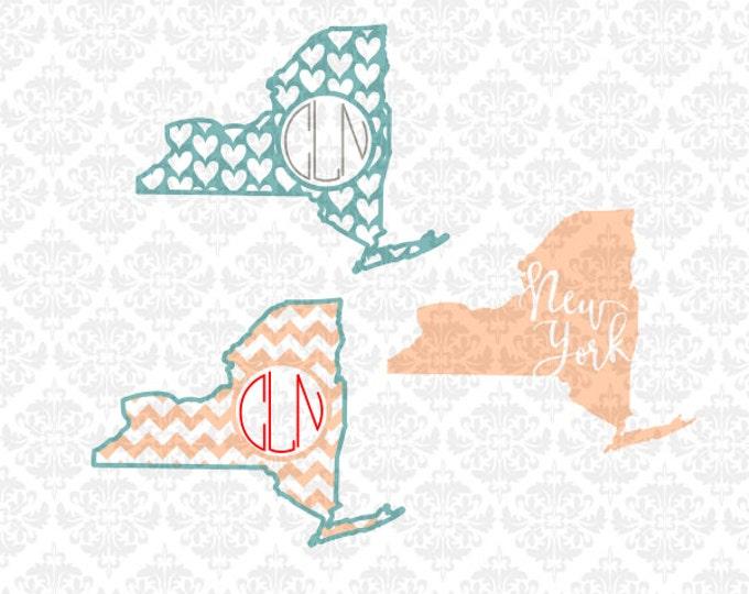 New York State Shape Outline Monogram Chevron Home Love Heart SVG STUDIO Ai EPS Vector Instant Download Commercial Use Cricut SIlhouette