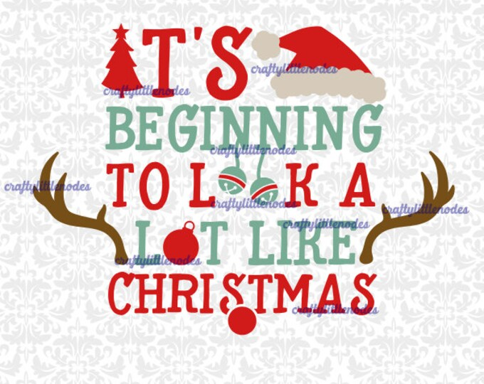 It's Beginning To Look A Lot like Christmas Rudolf Bells Santa Tree Ornament SVG file Ai EPS Scalable Vector Instant Download Cutting FIle