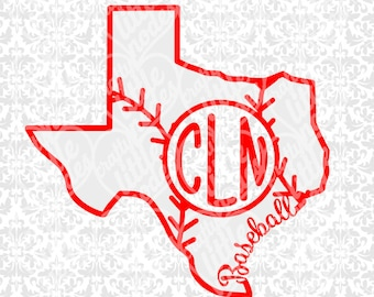 Texas Baseball Monogram Outline State Shape Set SVG file Ai EPS scalable vector instant download commercial cutting file cricut silhouette