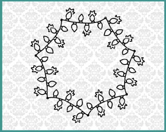 CLN0672 Christmas lights Mandala Monogram SVG DXF Ai Eps Vector instant download commercial use cut file silhouette cricut